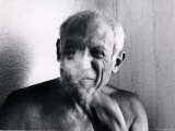 Portrait of Artist Pablo Picasso, Bare Chested and Smiling Premium Photographic Print by Gjon Mili