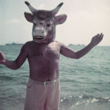 Pablo Picasso Wearing a Cow's Head Mask on Beach at Golfe Juan Near Vallauris Premium Photographic Print by Gjon Mili