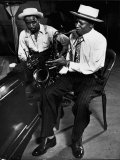 Illinois Jacquet and Harry Edison at Recording Session for Jammin' the Blues Reprodukcja zdjęcia premium autor Gjon Mili