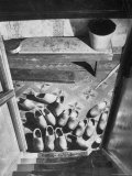 Wooden Shoes in a Hallway at the Bottom of the Stairs Premium Photographic Print by George Rodger