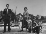 Michael Redgrave Standing with His Wife and Children on Bank of Thames River Near Their Home Premium Photographic Print by Ian Smith