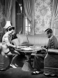 The Duke Windsor and His Wife, Playing a Card Game in Their Home Premium Photographic Print by David Scherman