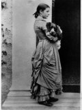 British Author/Illustrator Beatrix Potter Posing Outside with Her Dog at Age 15 Premium Photographic Print by Rupert Potter