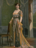 Mlle. Lely Modeling an Ornately Embroidered and Beaded Robe du Soir by Paquin Premium Photographic Print by Paul Nadar