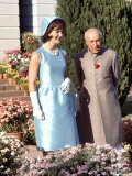 First Lady Jackie Kennedy with Indian Prime Minister Jawaharlal Nehru in Garden of His Residence Photographic Print by Art Rickerby