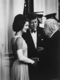 President John F. Kennedy and Wife Jackie with Poet Robert Frost at the White House Premium Photographic Print by Art Rickerby