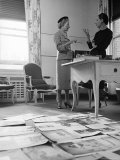 Editor Carmel Snow and Fashion Editor Diana Vreeland Reviewing Layouts in Harper's Bazaar Office Premium Photographic Print by Walter Sanders