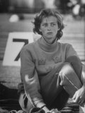 Gunhild Larking, Sweden's Entry for High Jump, Nervously Awaiting Turn to Compete at Olympic Games Premium Photographic Print by George Silk