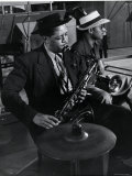 Lester Young and Trombonist at Recording Session for Jammin' the Blues Premium Photographic Print by Gjon Mili