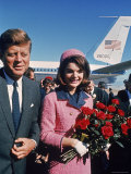 Pres. John F Kennedy and Wife Jacqueline Arriving for Tour of City Morning of his Assassination Premium Photographic Print by Art Rickerby