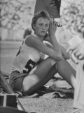 Gunhild Larking, Sweden's Entry for High Jump, Nervously Waits for Turn to Compete at Olympic Games Premium Photographic Print by George Silk
