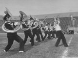 Marching Band Going Through Their Routines During Bands of America Premium Photographic Print by Alfred Eisenstaedt