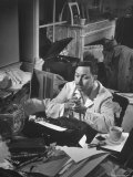"Playwright Tennessee Williams, Working on a New Play, with Success of ""A Streetcar Named Desire"" Premium Photographic Print by W. Eugene Smith"