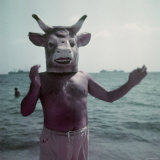 Pablo Picasso Wearing a Cow&#39;s Head Mask on Beach at Golfe Juan Near Vallauris Premium Photographic Print by Gjon Mili