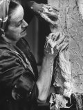 English Sculptor, Barbara Hepworth, at Work in Her Studio Premium Photographic Print by Paul Schutzer