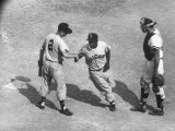 White Sox Player Nellie Fox at Home Plate, Shaking Hands with Minnie Minoso During Game Premium Photographic Print by Francis Miller