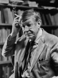 Poet, W. H. Auden, Sitting in Library at Home Metal Print by Harry Redl