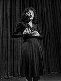 Edith Piaf with Hands on Breast and Midriff Premium Photographic Print by Gjon Mili
