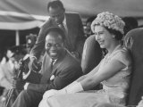 Queen Elizabeth II with Kwame Nkrumah During Her Visit to Ghana Premium Photographic Print by Paul Schutzer
