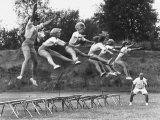 Cheerleaders Training under Bill Horan, American Cheerleaders Assn, Florence Alabama State College Premium Photographic Print by Lynn Pelham