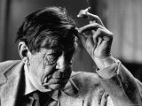 Poet, W. H. Auden, Sitting in Library at Home Premium Photographic Print by Harry Redl