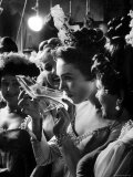 Julie Andrews Taking a Sip from the Glass Slipper During the TV Production of Cinderella Premium Photographic Print by Gordon Parks