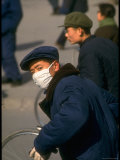 Chinese Worker Wearing Mask Against the Dust, During President Richard Nixon's Visit to China Photographic Print by John Dominis