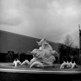 Statue in the Middle of the Fountain in the Transportation Zone at the New York World's Fair Photographic Print by David Scherman