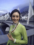 Peggy Fleming Holding Her Olympic Gold Medal for Figure Skating Premium Photographic Print by Art Rickerby