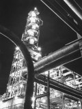 View of an Unidentified Refinery by Night Premium Photographic Print by Andreas Feininger