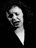 Edith Piaf Singing Expressively Premium Photographic Print by Gjon Mili