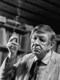 Poet Wystan H. Auden, Sitting in His Workshop at His House Metal Print by Harry Redl