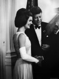 President John F. Kennedy, and Wife Jackie Greeting Guests at Party for Nobel Prize Winners Premium Photographic Print by Art Rickerby