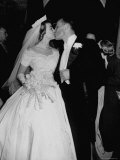 Wedding of Mary Freeman, Champion Swimmer, and John Kelly Kissing Photographic Print by George Skadding