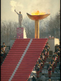 Lighting of the Olympic Torch during the Opening Ceremonies in Sapporo, Japan Premium Photographic Print by John Dominis