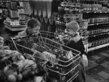 Kids in Supermarket, Experiment by Kroger Food Foundation, Children Let Loose in Kroger Supermarket Premium Photographic Print by Francis Miller