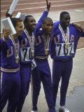 US Winning Team for the 4 X 100 Meter Relay at the Summer Olympics Premium Photographic Print by George Silk