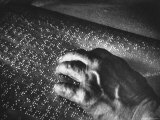 Helen Keller's Hand Moving Across Braille Page, Photographic Print