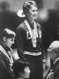 Cathy Ferguson Smiling Being Awarded the Gold Medal at Summer Olympic Games Premium Photographic Print by Art Rickerby