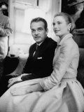 Prince Rainier III with Actress Grace Kelly at the Announcement of Their Engagement Premium Photographic Print by Howard Sochurek