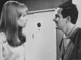 "Film Director Francois Truffaut with Actress Julie Christie During Filming of ""Fahrenheit 451."" Premium Photographic Print by Paul Schutzer"