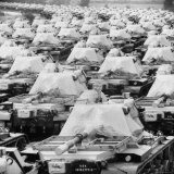 Tanks Parked in Formation on Road and Open Field for Storage Near Us Ordinance and Supply Depot Fotografie-Druck von Michael Rougier