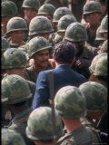 President Richard Nixon Surrounded by American Troops During His Visit to Vietnam Premium Photographic Print by Arthur Schatz