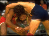 Wrestlers Wayne Wells and Ali Demirtas in Action at the Summer Olympics Premium Photographic Print by Co Rentmeester