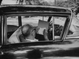 Author Vladimir Nabokov at Work, Writing on Index Cards in His Car Metal Print by Carl Mydans