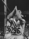 Pole Vaulter Bob Richards Praying Before Competing at the Olympics Premium Photographic Print by George Silk