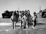 Gen. Douglas Macarthur and Col. Lloyd Lehrbas Wading Ashore During American Landings Premium Photographic Print by Carl Mydans