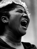 Gospel Singer Mahalia Jackson Singing at 'Prayer Pilgrimage for Freedom' Premium Photographic Print by Paul Schutzer