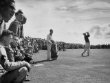 Scene from the British Open, with Spectators Watching Ben Hogan Premium Photographic Print by Carl Mydans