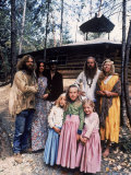Family of Mystic Arts Commune Members in Front of Home They've Lived in for over One Year Premium Photographic Print by John Olson